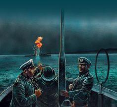 El U-47 torpedea al HMS Royal Oak en Scapa Flow, por cortesía de Peter Dennis. Más en www.elgrancapitan.org/foro