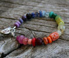 Color Gemstone Bracelet Colorful Bracelet Rainbow by ckbcreations