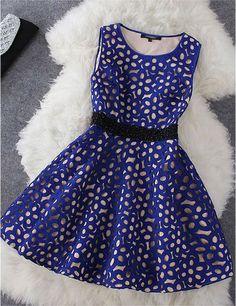 Crochet Dress in Beige and Blue