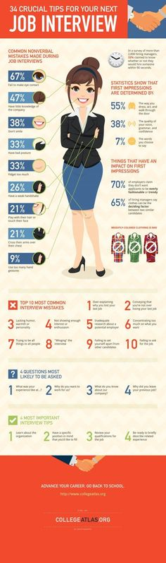 Interview tips that will help you land your dream gig—SELF magazine swears it. This is a great infographic that condenses 34 interview tips into a really cool image. Check it out before your next job search or interview. Job Interview Questions, Job Interview Tips, Job Interviews, Hairstyles For Job Interview, Makeup For Job Interview, Outfits For Job Interview, Preparing For An Interview, Teacher Interview Outfit, Group Interview