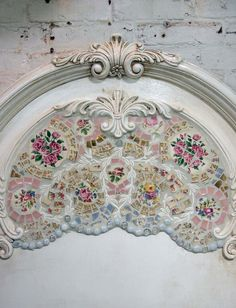 this would work great on any piece of furniture ... Painted Cottage Chic Shabby Mosaic Romanitc Bed. via Etsy.