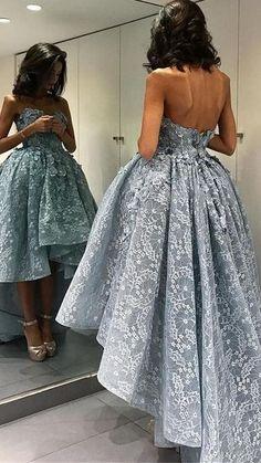 Sparky Prom Dresses,Dress For Teens,Cute Dresses,Elegant Prom Dresses,Short Front Long Back Lace Prom Dresses,Modest Evening Dresses,Strapless Prom Dress For Teens,Beauty Party Dresses,Women Dresses