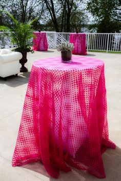 Pixelation sheer pink over ivory table linen at outdoor Lafayette Club, Event Coordinator Open House | Minneapolis, MN