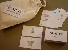 Receptive language game - players slap their picture cards down when they hear a descriptive quality that describes one of their cards