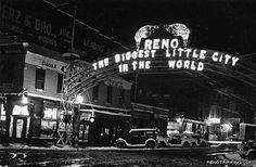 "In 1929, a local newspaper held a slogan contest for the city of Reno. The winner's slogan would be emblazoned in lights over Virginia Street - replacing the Lincoln Highway completion arch. The winning slogan? ""The Biggest Little City In The World"""