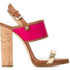 Dsquared2 Contrasted Heel Double Strap Sandals ($770) ❤ liked on Polyvore featuring shoes, sandals, pink shoes, slingback sandals, leather ankle strap sandals, block heel sandals and sling back sandals
