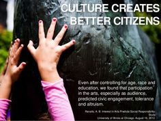 Reading the Tea Leaves: Global Trends and Opportunities for Tomorrow's Museum - slideshow .  Culture creates better citizens. Even after controlling for age, race and education, we found that participation in the arts, esp. as audience, predicted civic engagement, tolerance and altruism. #socialresponsibility #community http://www.slideshare.net/rstein/reading-the-tea-leaves-global-trends-and-opportunities-for-tomorrows-museums #culture #civicengagement #thearts #globaltrend
