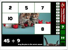 """Holiday puzzle pics division"" (Divisiones de Navidad para Educación Primaria) Puzzles, Maths, Happy, Holiday, Funny Math, Hilarious, Maths Area, Interactive Activities, Primary Education"