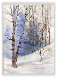 Christmas Watercolor Greeting Card Winter Landscape by Susie Short