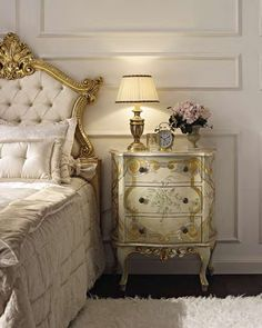 Nightstands, beds, side tables, cabinets or armchairs are some of the luxury bedroom furniture tips that you can find. Every detail matters when we are decorating our master bedroom, right? Homemade Bedroom Furniture, Italian Bedroom Furniture, Bedroom Furniture Sets, Luxury Furniture, Painted Furniture, Furniture Design, Romantic Room, Romantic Homes, Neoclassical Interior