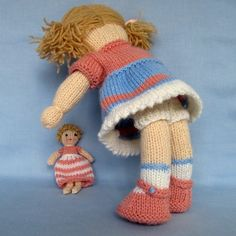 Lulu and little doll PDF knitting pattern INSTANT by dollytime