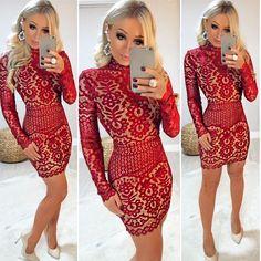 """dc2223298 Guapa Vip Store on Instagram: """"OMG que vestido é esse?? 😱😱😱 Que LUXO ✨✨✨  meu modelo preferido : gola alta e manga longa TODO de renda ❤ E essa cor?"""