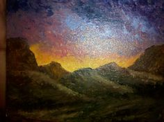 Acrylic Painting, mountains at sunset on I-15 between Las Vegas and St. George, Utah