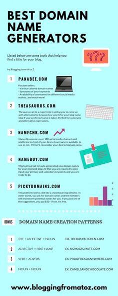 Domain Name Generator, Domain Name Ideas, Thing 1, Blog Names, New Technology, Blogging, Social Media, Generators, Tips
