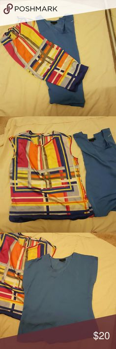 Blouse bundle Colorful print is a size large by Liz Claiborne. Solid blue is an XL by Worthington. Both tops fit small and the solid blue hem is raw, see picture. Both tops have never been worn, only tried on and forgot to return them. Liz Claiborne Tops Blouses
