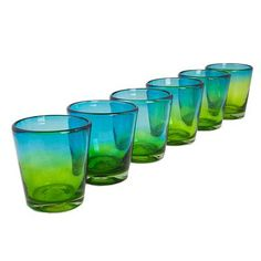 UNICEF Market   Mexican Green Blue 8 oz Rock Glasses Hand Blown Set of 6…
