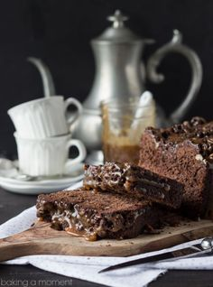 Chocolate Hazelnut Streusel Bread with Salted Caramel Sauce