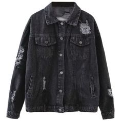 Graphic Distressed Denim Jacket Black ($40) ❤ liked on Polyvore featuring outerwear, jackets and zaful