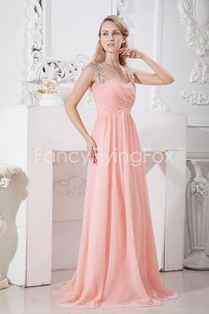 fancyflyingfox.com Offers High Quality Watermelon Chiffon Double Straps A-line Full Length Prom Dresses With Ruched Bodice ,Priced At Only US$158.00 (Free Shipping)