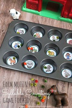 Farm Muffin Tin Syllable Counting Game for kids to make and play. Learning…