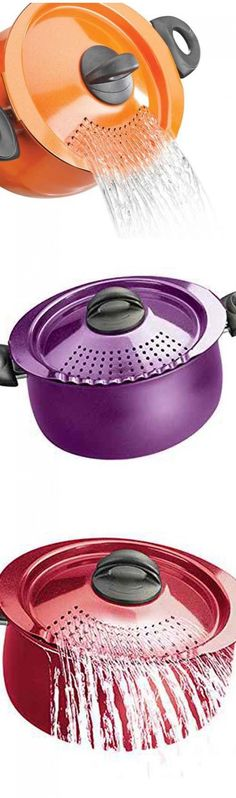 I chose these pastas pans because they are a cool pans to have to avoid burning yourself while draining hot water.