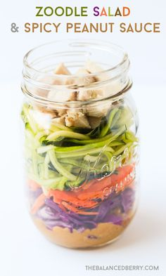 Easy Packed Lunch: Zucchini Noodle Salad with Spicy Peanut Sauce