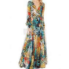 vestido de las mujeres boho azul / amarillo, el swing de manga larga de impresión / cuello sobrepelliz maxi - USD $ 22.99