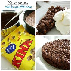 Kladdkaka med kinapuffstäcke Köstliche Desserts, Delicious Desserts, Yummy Food, Tasty, Baking Recipes, Cake Recipes, Dessert Recipes, Swedish Recipes, Sweet Recipes