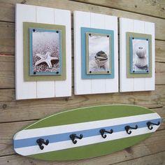 4 ft surfboard coat rack with schoolhouse hook Bathroom Decoration - Nautical Bathroom Decor, Modern Bathroom Decor, Nautical Theme, Coastal Decor, Bathroom Ideas, Shower Ideas, Diy Bathroom, Nautical Nursery, Tropical Bathroom
