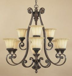 Tuscan lighting ideas - similar to our dining chandelier. Just need to revamp the wrought iron.