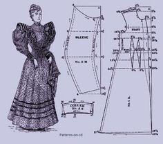 CD ROM Title:  Victorian Period Costume Patterns1895.   Garments cutting for ladies' complete wardrobe, including, undergarments, night gowns, street costumes, house dresses, princess evening gowns and more. Over 80 patterns in all and beautifully illustrated, a valuable reference resource for anyone interested in recreating authentic Victorian period clothing for theatre, costume parties or who simply wants to study dressmaking methods.  Click on image to see more page images from this…