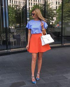 WEBSTA @ my__closet__diaries - Feeling peachy 😜 #msgm skirt #markdsikes top…
