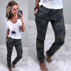 We have all the latest Camo print styles from camo dress, camo joggers, camo tops, and camo pants. If you love the trendy camouflage styles we have the items for you! Jogger Pants Outfit, Camo Joggers, Black Joggers Outfit, Camo Pants Outfit, Camo Dress, Leopard Vans Outfit, Camo Clothes, Camo Jeans, Gym Pants