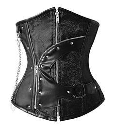 c2113c8320 Charmian Women s 12 Steel Boned Waist Training Cincher Gothic Steampunk Old Fashion  Underbust Corset Top With
