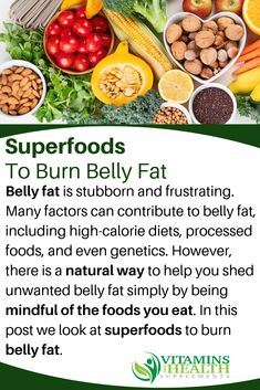 Losing belly fat begins with the right nutrition. Here's a list of superfoods th… Losing belly fat begins with the right nutrition. Here's a list of superfoods that can help you lose weight and get a flat tummy. Healthy Food To Lose Weight, Healthy Food List, Healthy Recipes, Healthy Meals, Diet Recipes, Belly Fat Diet, Burn Belly Fat, Detox Cleanse For Bloating, High Calorie Diet