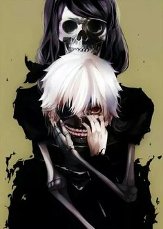 Tokyo Ghoul Characters, top to bottom: Skeleton Rize and Kaneki Ken.