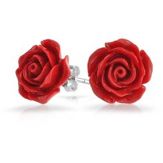Silver Plated Red Coral Rose Flower Stud Earrings 10mm (37.815 COP) ❤ liked on Polyvore featuring jewelry, earrings, red, studs, accessories, red rose stud earrings, punk earrings, post earrings, flower stud earrings and rose flower stud earrings