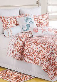 Stylized overlapping coral reefs come together in this overall print. The coastal-inspired comforter reverses to a smaller shell and starfish print in the same colorway. Add decorative pillows to complete this aquatic-themed look! Coastal Style Decorating, Decor, Beach Bedroom, Beach House Decor, Interior Design Advice, Bedroom Decor, Coastal Bedrooms, Home Decor, Coastal Bedroom