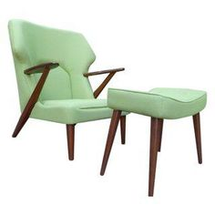 "Absolutely stunning mid-century modern styled lounge chair and ottoman in the style of the iconic ""Papa Bear"" chair."