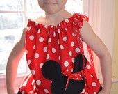 Minnie Mouse Dress, Pillowcase Dress or Top with Matching Ponytail streamers or Hair Bow.