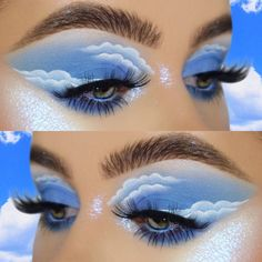 """✨Everyone calls me Raphie✨ on Instagram: """"✨☁️CLOUD 9☁️✨ ° ° ✨ inspired by @makeupmouse ☁️ ° ° 💕🌟 I HOPE YOU LIKE IT!! ° ° ° ° ° FACE :  @purcosmetics 4 in 1 foundation,  @hudabeauty…"""" Face Paint Makeup, Eye Makeup Art, Body Makeup, Makeup Inspo, Makeup Inspiration, Blue Makeup Looks, Cool Makeup Looks, Cute Makeup, Celebrity Makeup Looks"""