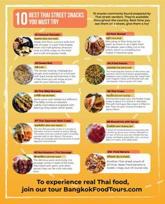 10 Best Thai Street Snacks You Must Try - Bangkok Food Tours - info graphic Eat Thai, Pork Skewers, Coconut Pancakes, Laos Food, Wat Pho, Thai Dishes, Best Street Food, Bangkok, Nom Nom