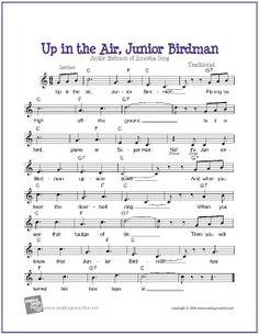 Up in the Air, Junior Birdman - Free Voice/Piano/Guitar Sheet Music (Lead Sheet) Guitar Sheet Music, Music Music, Music Lyrics, Popular Kids Songs, Fun Songs For Kids, Free Printable Sheet Music, Free Sheet Music, Kids Songs With Actions, Bible Songs