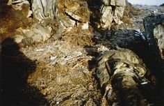 Mount Longdon, 12 or 13 June Close up of Enemy dead at the entrance to a command post.
