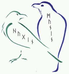 "Huginn (from Old Norse ""thought"") and Muninn (Old Norse ""memory"" or ""mind"") are a pair of ravens that fly all over the world, Midgard, and bring information to the god Odin."