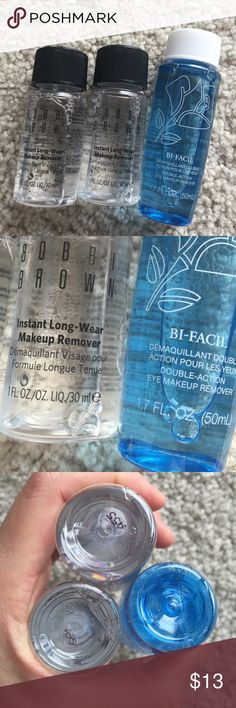 Makeup remover bundle. Travel size. Never opened to sell fresh. Travel size bundle. Lancôme bu facil eye and lip makeup remover. 1.7 oz. Bobbi brown long wear makeup remover 1o each. To go size. Retail $12 each. No trade. Lancome Makeup