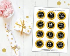 Cupcake Toppers 60th Birthday Cheers to 60 years Printable