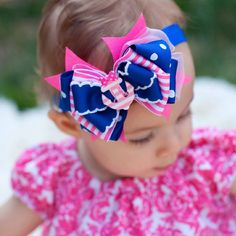 Nautical Bow Baby Headband 2 color options Kinley by KinleyKate
