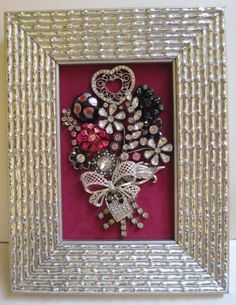 Jeweled Framed Jewelry Flower Bouquet Valentine Heart Fuchsia Pink Silver Black Vintage Rhinestone by audreymivey on Etsy