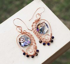 Purple Candy Crystals Copper Wire Wrap OOAK Stylish Earrings Jeanninehandmade